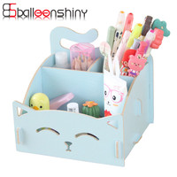 BalleenShiny Cute Cat Storage Box Wooden For Jewelry Organizer Makeup Cosmetics Box Container Office Desk Storage