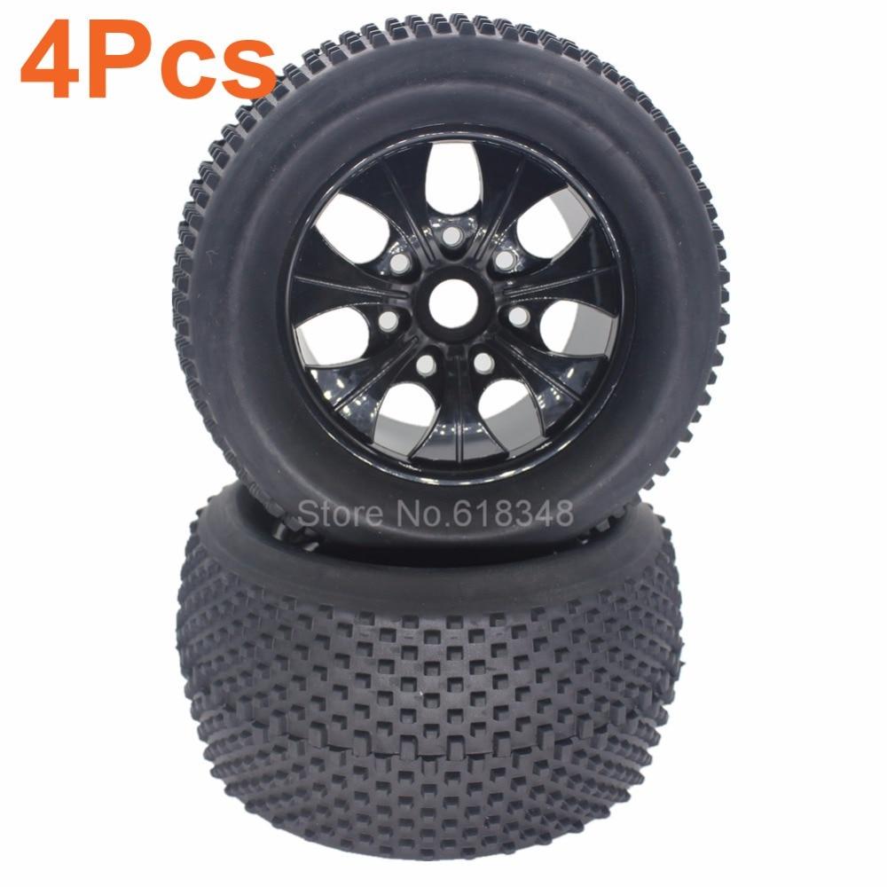 4pcs 2 2 inch rc 1 8 monster truck tires wheel rim rubber 17mm hex