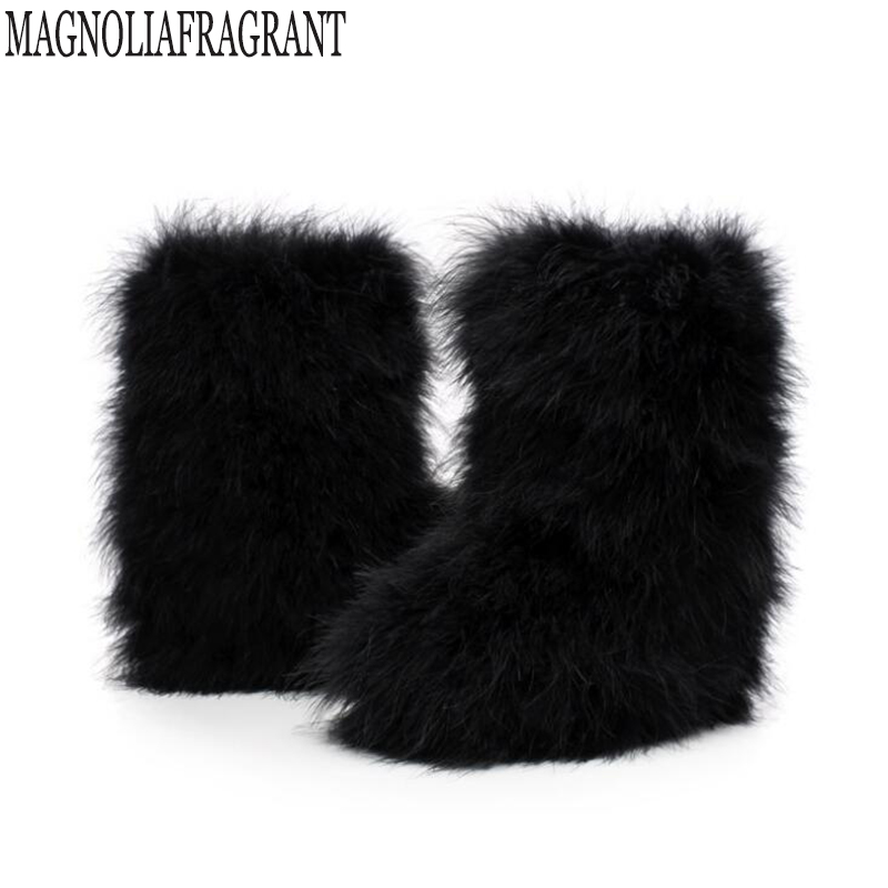 Winter Womens Boots Genuine Real Hairy Ostrich Feather -8408