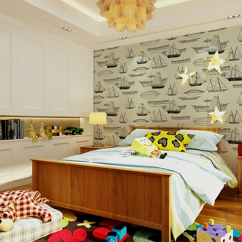 beibehang European style Mediterranean children nonwovens environmental wallpaper boy girl bedroom room sailboat wallpaper beibehang wallpaper vertical stripes 3d children s room boy bedroom mediterranean style living room wallpaper