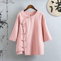 Linen shirt women linen clothes cheongsam top Chinese style mandarin collar blouses solid color linen shirt Q166