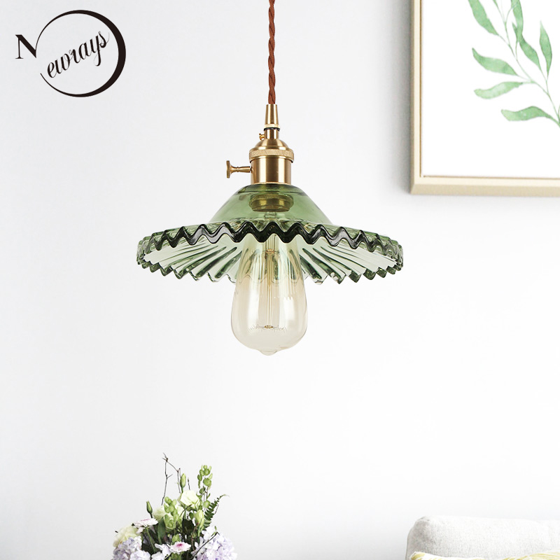 Europe retro novelty glass iron pendant light LED E27 with 5 colors for bedroom living room