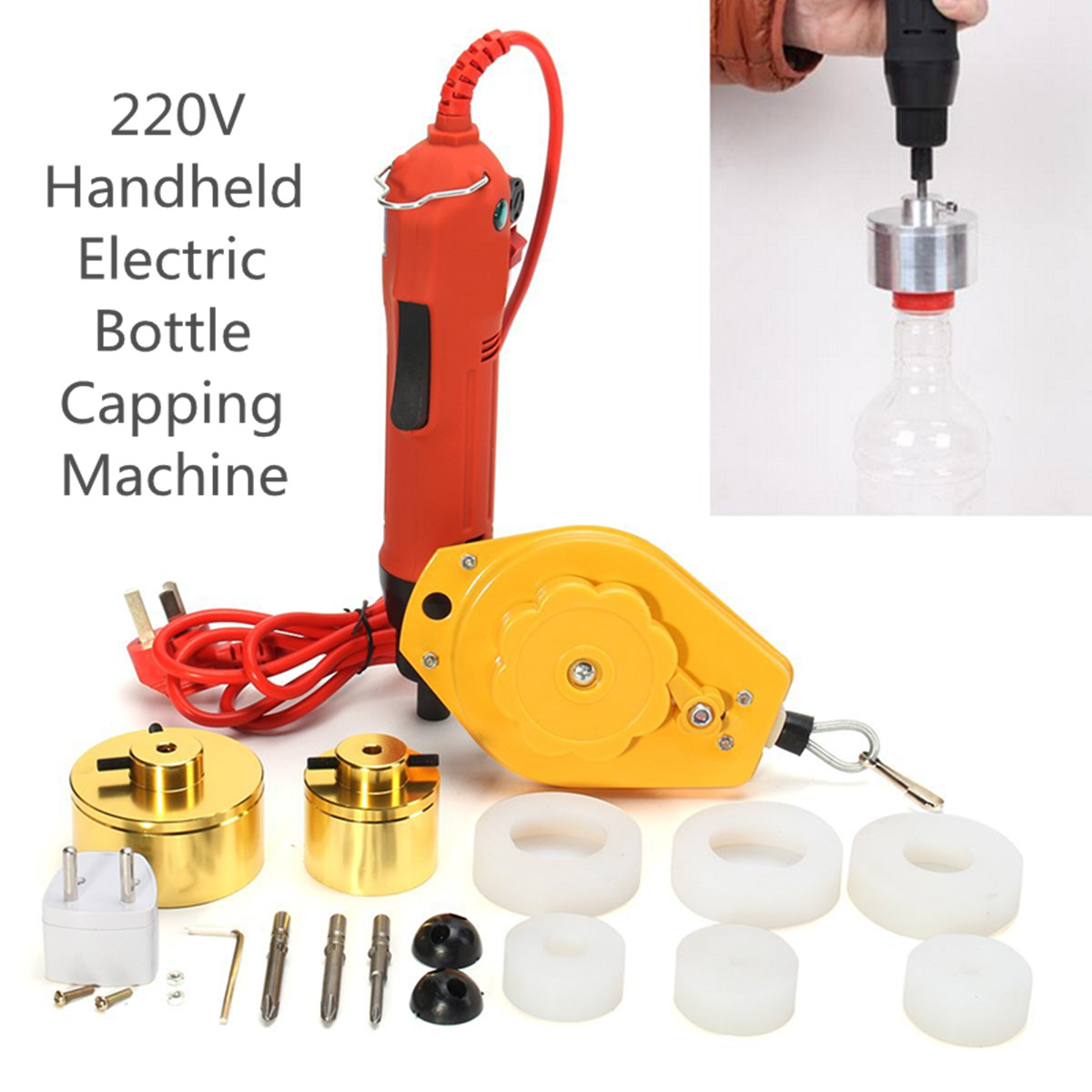 Portable Handheld Automatic Electric Bottle Capping Machine Cap Screwing Sealing Machine Bottle Capper With Spring Balancer 220V