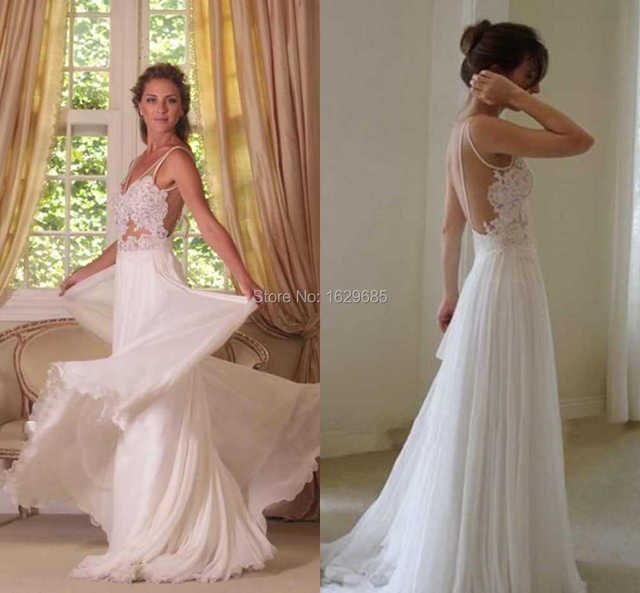 1f30d02111e9b Fashionable 2016 Grace Loves Lace Beach Backless Wedding Dresses Lace  Appliques Sexy Bohemian wedding dress Chiffon Bridal Gown