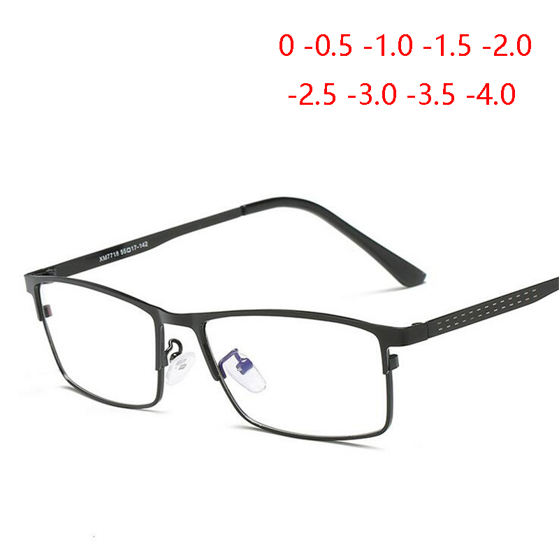 1.56 Aspherical Lens Full Frame Business Prescription Glasses Men Fashion Metal Square Myopia With Degree 0 -0.25 -0.5  To -4.0