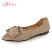 Aphixta Loafers Flat Shoes Women Flat Flock Spring Autumn Art Handmade Sapato Feminino Cow Suede Metal