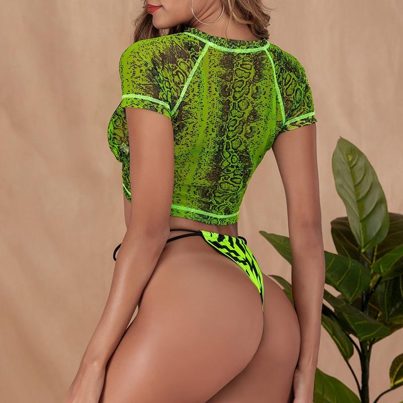 HTB1PFhSdvWG3KVjSZFgq6zTspXaF Brazilian bikini thong Micro print bikini Neon swimwear women 2019 bathers Push up 3 piece swimsuit female string bathing suit