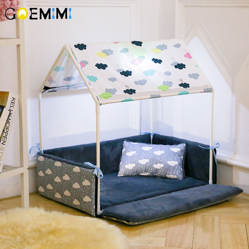 Washable Home Shape Dog Bed + Tent Dog Kennel Pet Removable Cozy House For Puppy Dogs Cat Small Animals Home Products