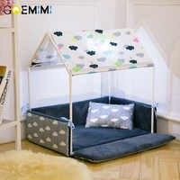 Casa produtos cama do cão da forma da casa lavável + casa aconchegante removível do animal de estimação do canil do cão da barraca para cães do filhote de cachorro