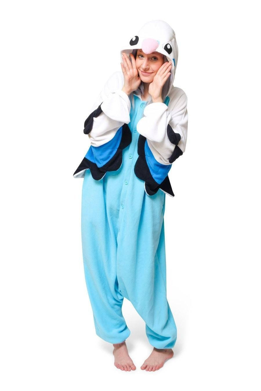 Unisex Fleece Adult Piplup Blue Parrot Onesies Animal Cosplay Costume Halloween Xmas Paj ...