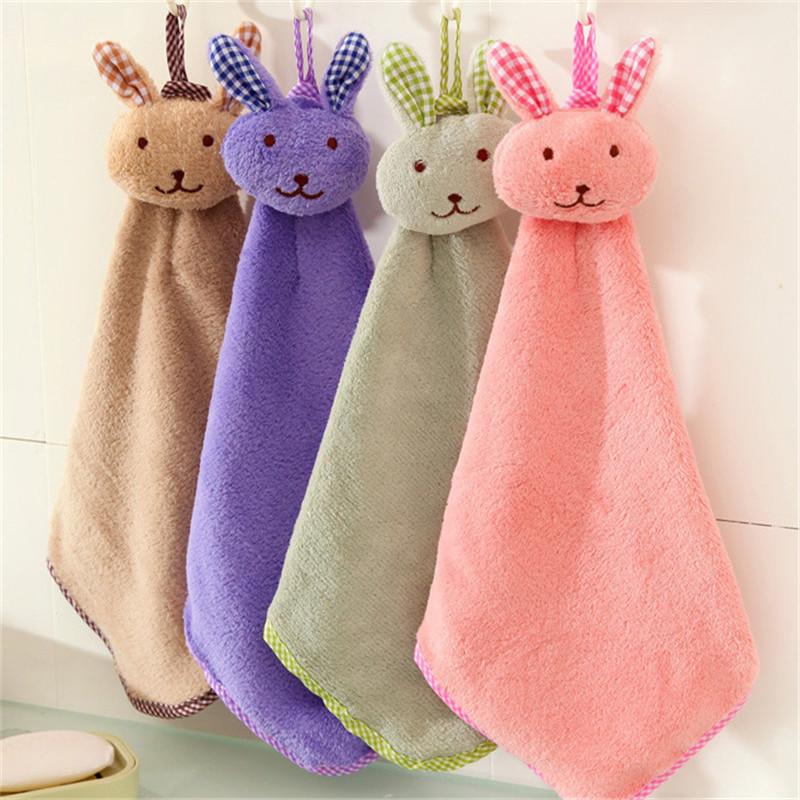 Cute Baby Nursery Rabbit Hand Towel Toddler Soft Plush Cartoon Animal Wipe Hanging Bathing Towel For Children Bathroom 4 ColorsCute Baby Nursery Rabbit Hand Towel Toddler Soft Plush Cartoon Animal Wipe Hanging Bathing Towel For Children Bathroom 4 Colors