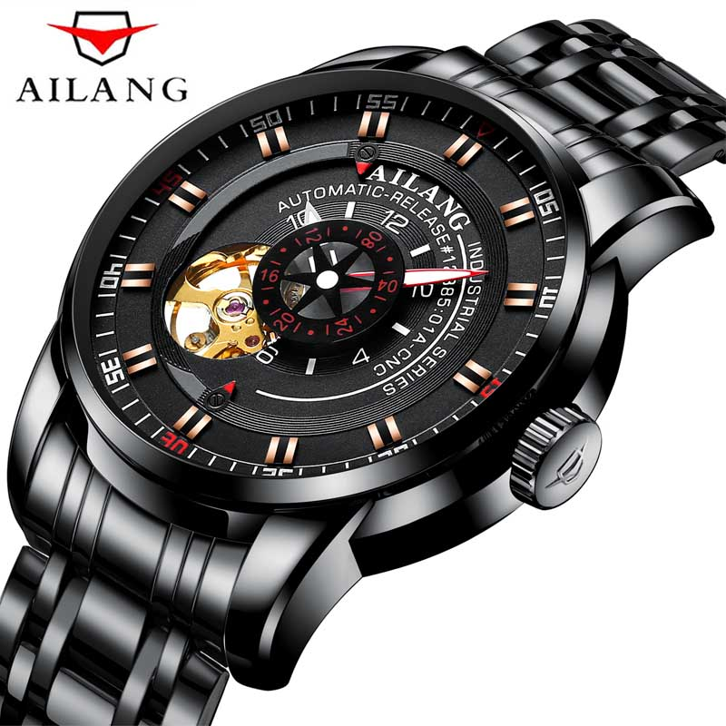 AILANG Black Dial Tourbillion Design Mens Mechanical Automatic Watches Steampunk Wrist Watch Stainless Steel Fashion ClockAILANG Black Dial Tourbillion Design Mens Mechanical Automatic Watches Steampunk Wrist Watch Stainless Steel Fashion Clock