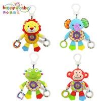 High Quality Kids Cartoon Dolls Lathe Hanging Plush Lion Frog Elephant Monkey Toys Gift