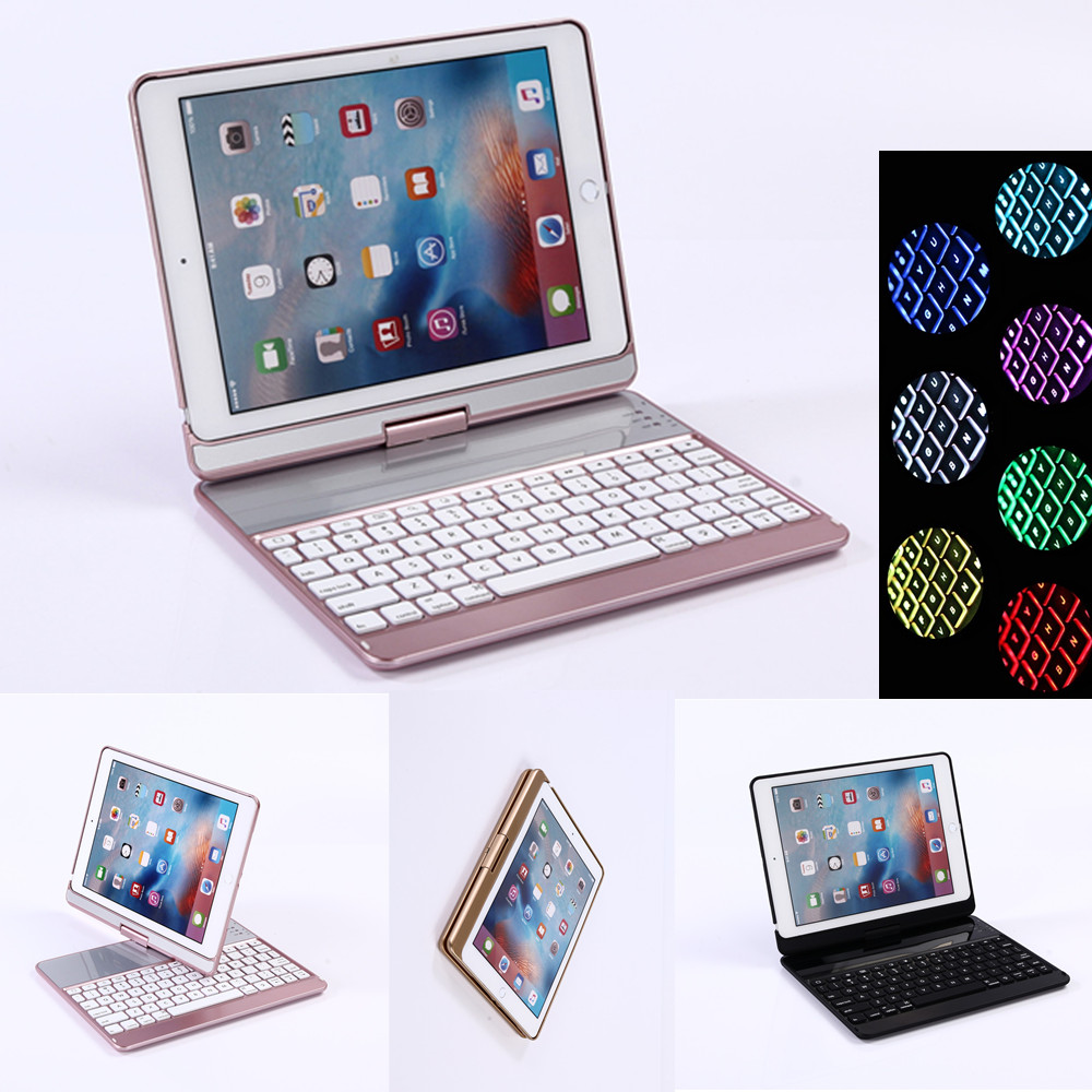 360 Rotating Bluetooth 7 Colors Backlit Plastic Keyboard Case Cover For New iPad 2017 2018 iPad Air Air 2 Pro 9.7