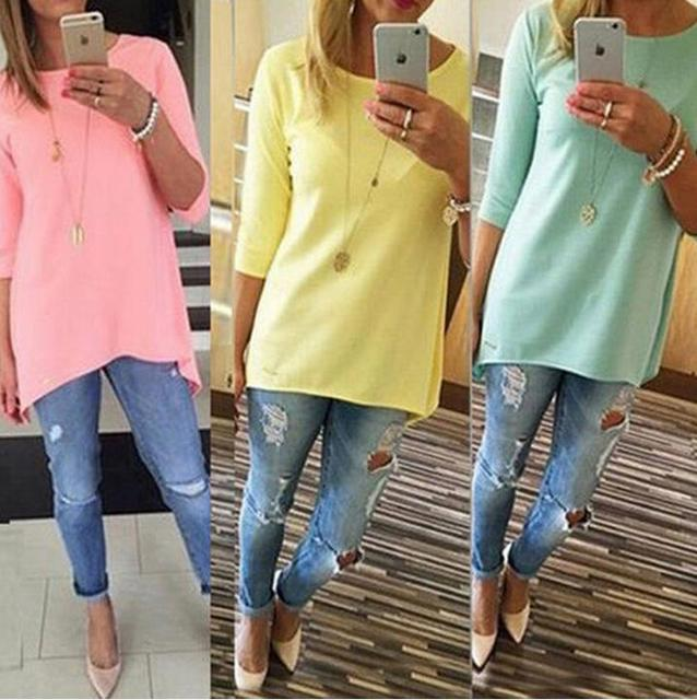 05b8d1f43d4 Women s Fashion Shirt 3 4 Sleeve Long Tops Women Cloth Ladies Female Beach  Casual Tunics