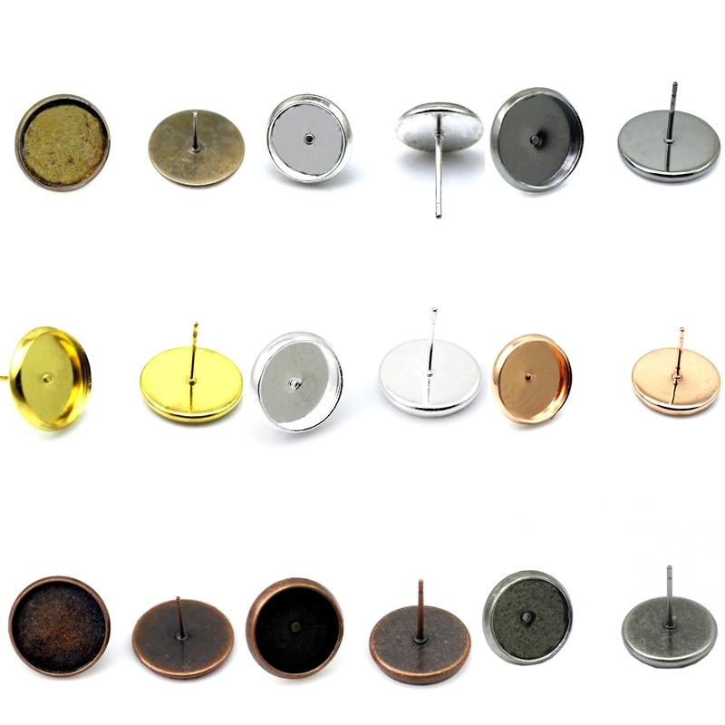 Beadsnice brass earring stud base setting round cabochon bezel blanks earrings findings women fashion jewelry components ID32228