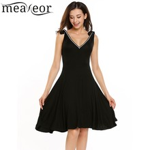 Meaneor Lace Up Shoulder Sexy A-Line Dress Spaghetti Strap V-Neck Sleeveless Women Solid 2017 Summer Party Vestidos