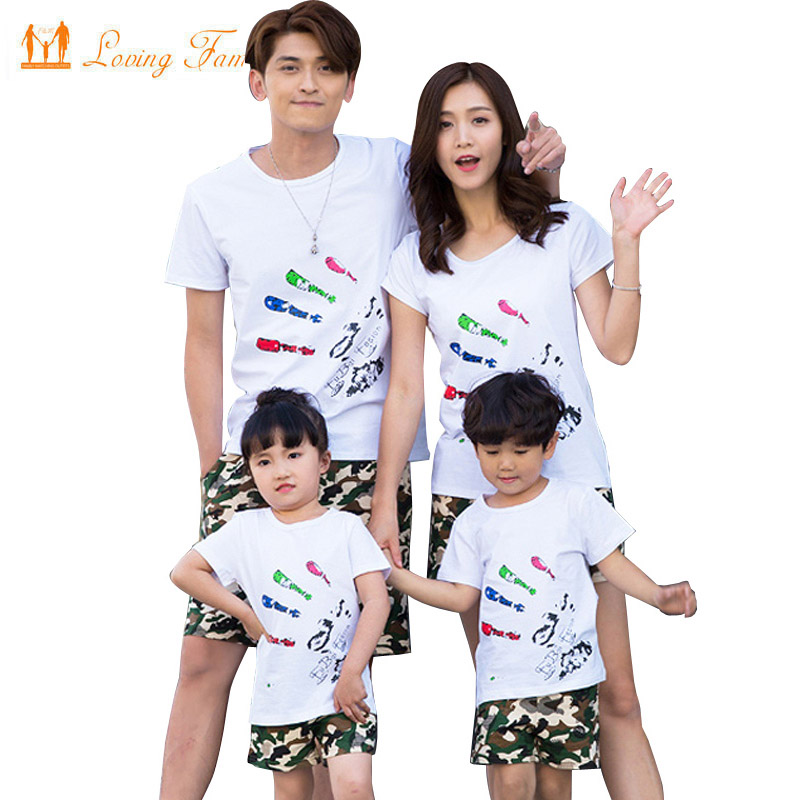 Family look print t shirt camouflage shorts matching for Matching denim shirt and jeans
