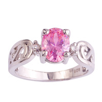 lingmei Wholeale Fashion Beauty Pink & White Topaz 925 Silver Ring Jewelry For Women Gift Size 6 7 8 9 10 11 12 Free Shipping