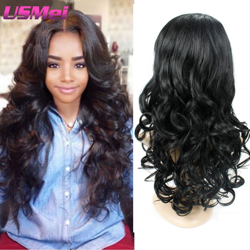 Natural Black Big Curly Body Loose Wave Synthetic Wigs for Black women ...