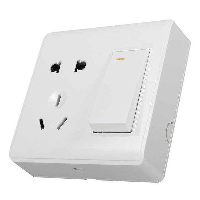 10A/250V 1 Gang 2 Ways Switch Socket Outlet 86 Installed Wall Switch ...