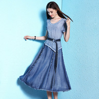 2018 Summer new arrival women's dress summer thin silk dress women's fashion silk stitching tencel denim thin dress nw18a1979