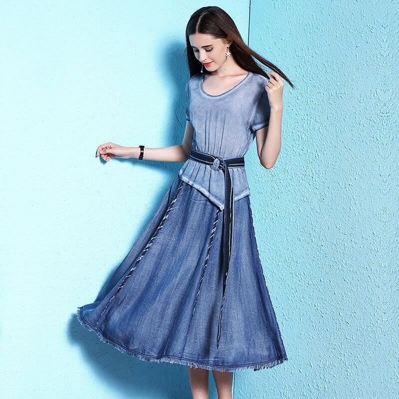 2018 Summer new arrival womens dress summer thin silk fashion stitching tencel denim nw18a1979