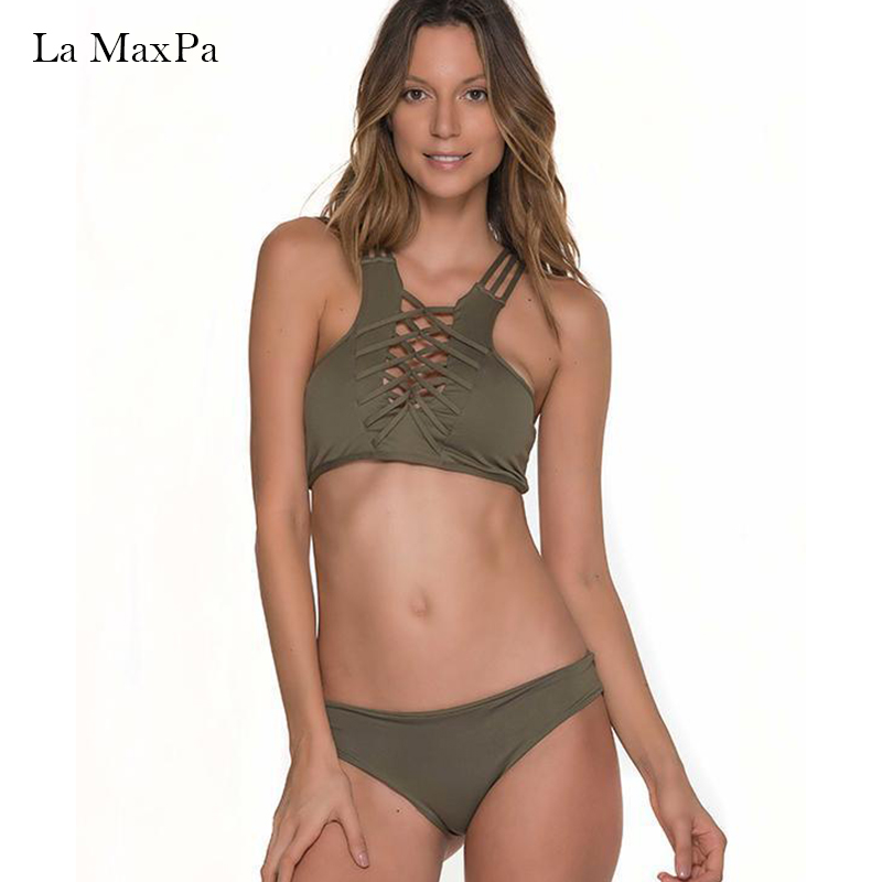 La MaxPa bandage tankini 2018 swimsuit female bikini set swimwear women bathingsuit girls cross bandeau beachwear XL swimsuit