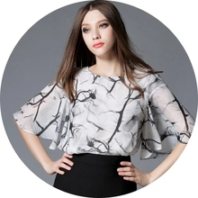 Boss Shang 2017 New Fashion Women Flower Print Elegant Chiffon Blouse Organza Flare Sleeve Female Mesh Loose Shirt