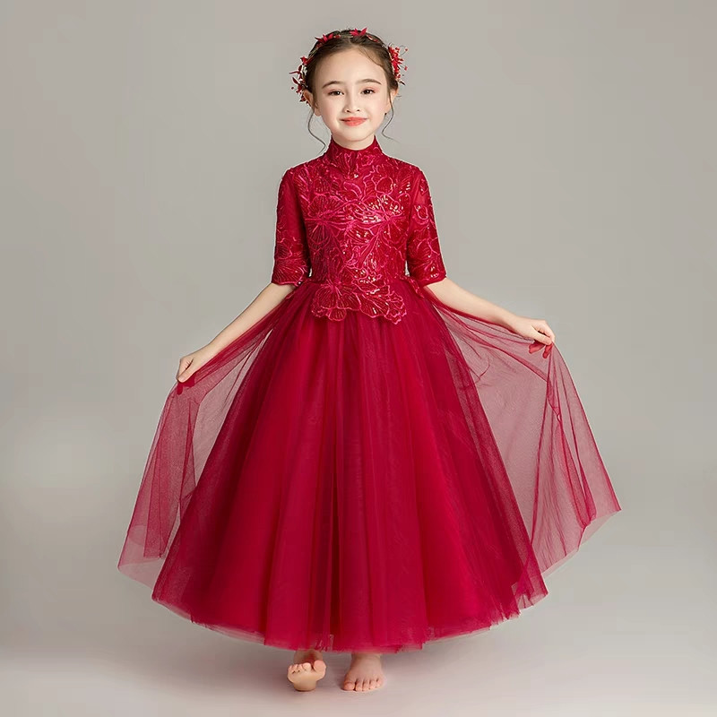 Spring Summer New Children Girls Elegant Wine-red White Birthday Wedding Party Princess Lace Dress Model Show Host Costume Dress