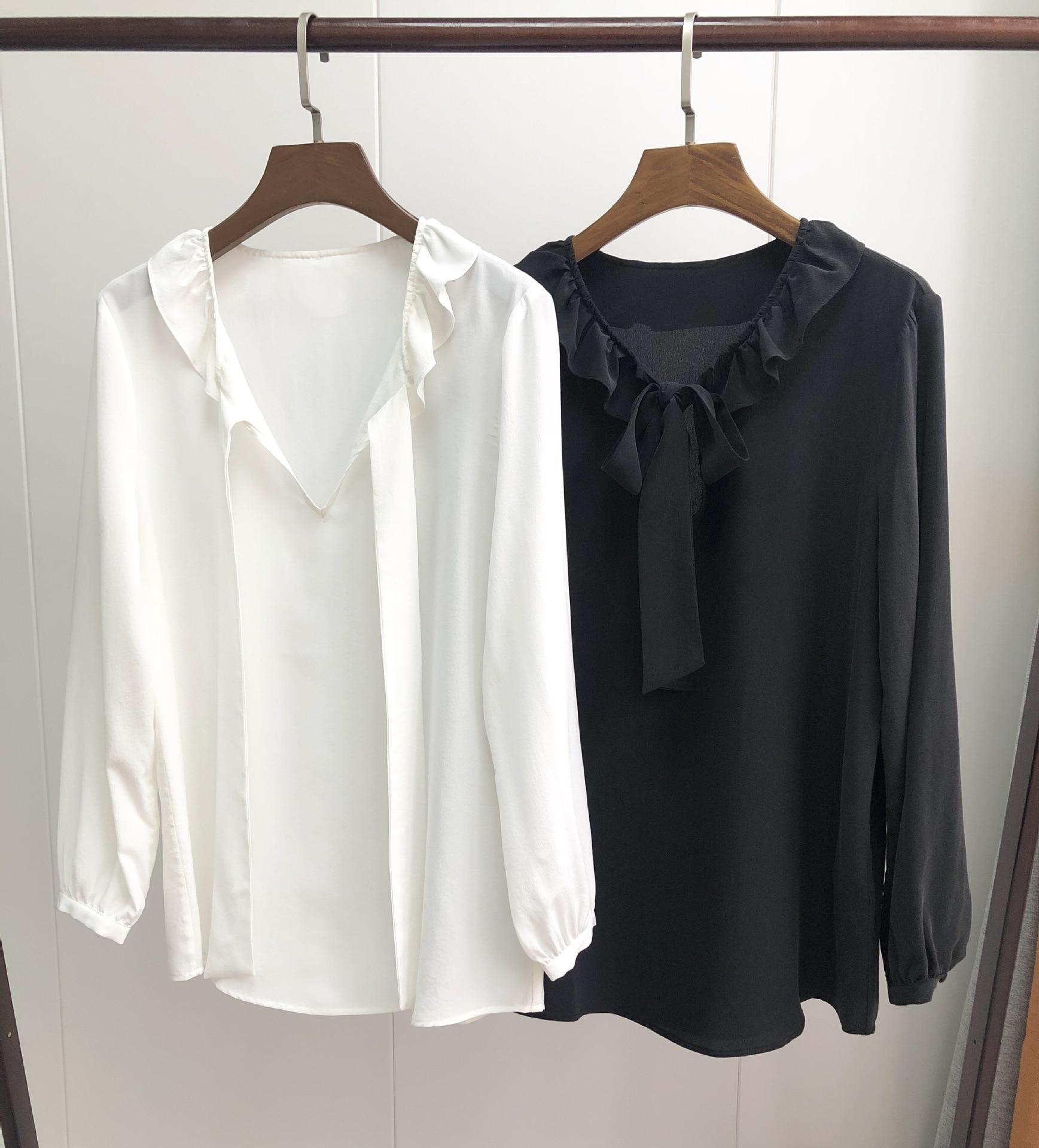 Kadın Giyim'ten Bluzlar ve Gömlekler'de Kadın Gömlek dantel up Ruffled Ipek Gömlek 2019 Erken Bahar papyon gömlek'da  Grup 1