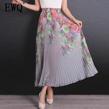 [EWQ] 2020 summer new fashion clothes high waist Floral pleated chiffon big swing trend wild women printing skirt 6 color QH954