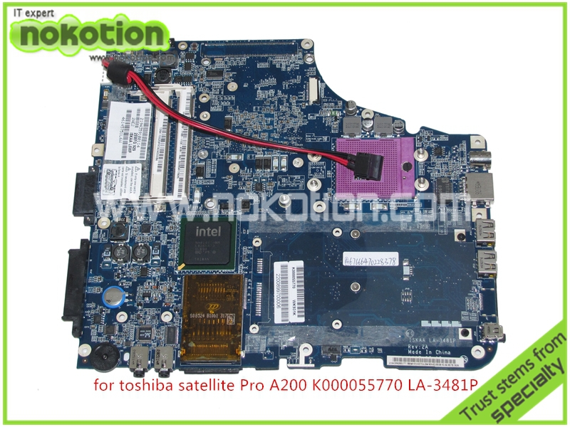 NOKOTION K000055770 Laptop Motherboard For Toshiba Satellite A200 A205 ISKAA LA-3481P intel 965GM DDR2 without graphics slot k000055760 laptop motherboard for toshiba satellite a200 a205 iskaa la 3481p rev 2a intel gl960 ddr2 without graphcis slot