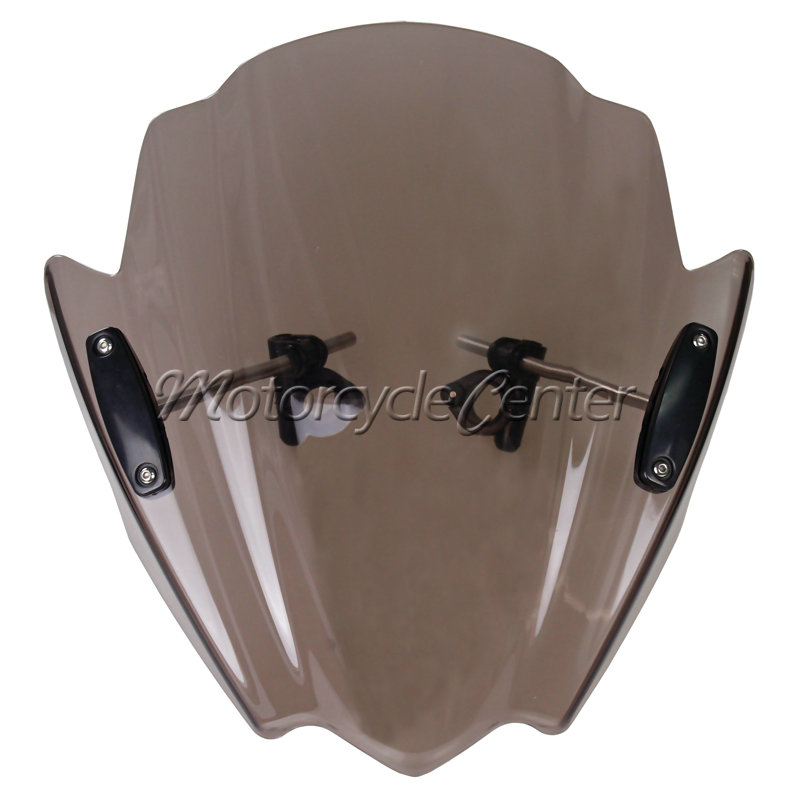 Smoke Motorcycle Street Bikes Wind Deflectors Windshield Windscreen For  2013-2014 Yamaha FZ16 FZ16S FZ 16 16S / 2011 FZ-S16 11 motorcycle street bikes wind deflectors windshield windscreen for 2006 2014 yamaha fz1 fz1n fz6 s2 fz8 fz 6 8 dark smoke 08 12