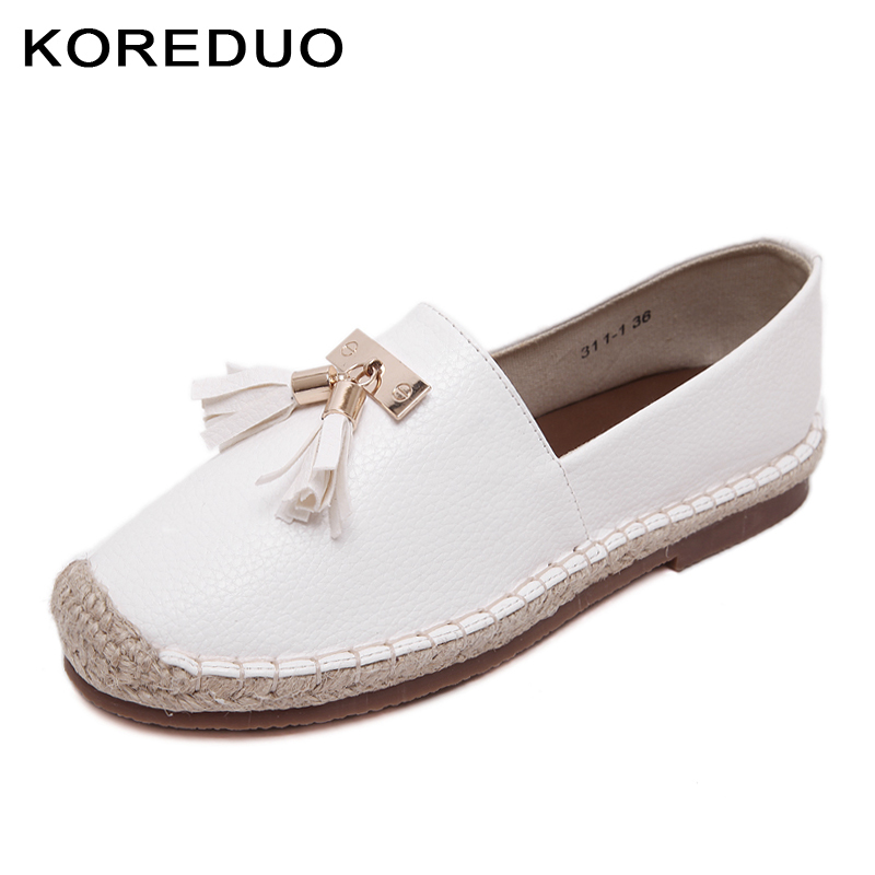 KOREDUO spring women loafers cane hemp straw fisherman flat heels shoes Tassels espadrilles woman lazy flat zapatos mujer msw women and men s casual flat shoes loafers fisherman espadrilles boat shoes men lazy hemp rope weave shoes size 35 45