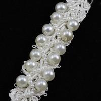 2Yds Black White Pearl Lace Clothing Accessories 1 8cm Wide Beads Collar Lace DIY Clothes Decorative