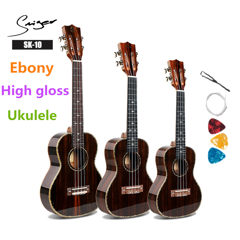 Ukulele 21 24 26 Inches All Ebony Mini Electri Soprano Concert Tenor Acoustic Guitars 4 Strings Ukelele Pickup Travel Guitar
