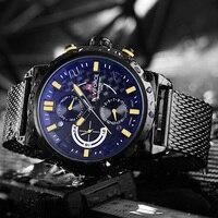 NAVIFORCE Элитный бренд полный сталь для мужчин часы кварцевые 24 часа Дата Мужской Спорт Военная Униформа наручные часы Relogio Masculino