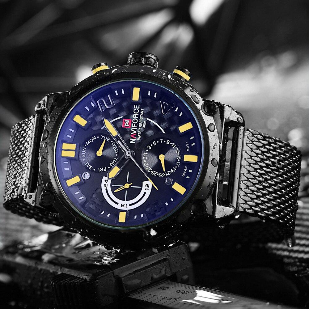 NAVIFORCE แบรนด์หรูเต็มเหล็กผู้ชายนาฬิกาผู้ชายควอตซ์ 24 ชั่วโมงวันที่นาฬิกาชายกีฬาทหารนาฬิกาข้อมือRelógio Masculino