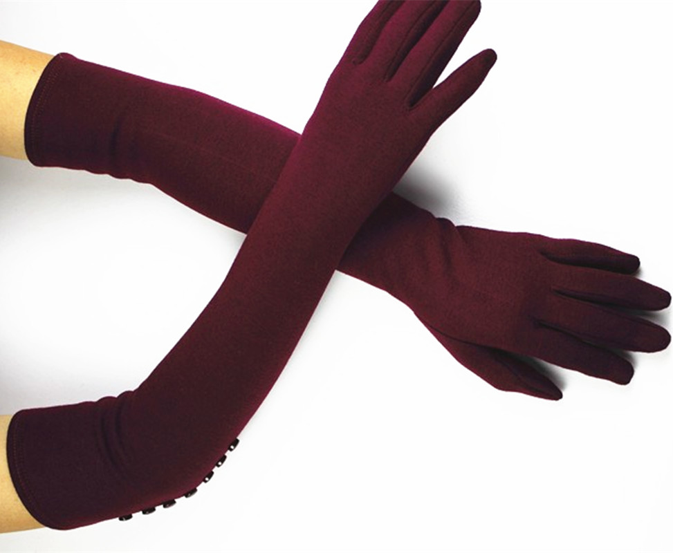48 cm long cotton knitted gloves female s