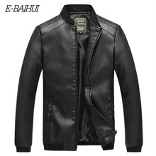 E-BAIHUI Hot Sale Autumn Jacket Men Solid Color PU Leather streetwear jackets New Design Male Stand Collar Jackets G023