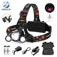 цена на Super bright LED Bicycle Headlight 3T6 headlamp 4 light mode+Warning lamp Bike light Powered by18650 battery Cycling lighting