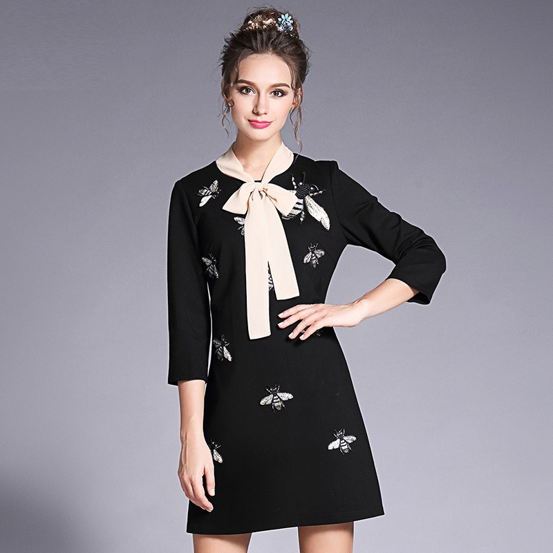 European Style 2017 Autumn Animal Bee Embroidery Bow Neck Women Elegant Dress Plus Size Womens Clothing 3xl 4xl 5xl
