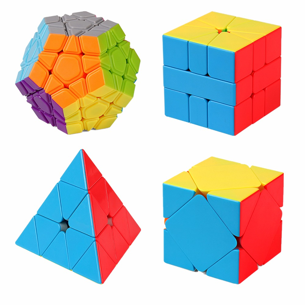 surwish 4pcs/set Gift Set Magic Cube Puzzle Toy Colorful