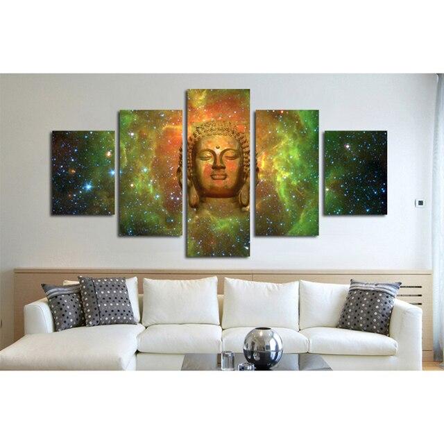 5 panels canvas hd prints buddha head portrait buddha canvas wall