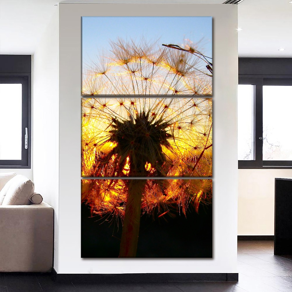 Modular Canvas HD Printed Paintings Wall Art Poster 3 Pieces Dandelion Lit Up By the Setting Sun Pictures Home Decor Living Room in Painting Calligraphy from Home Garden