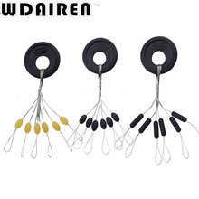 60Pcs/set Black Rubber Oval Stopper Fishing Bobber Float Space bean Connector Folat Line Tackle Bobber Stops Tools WD-303