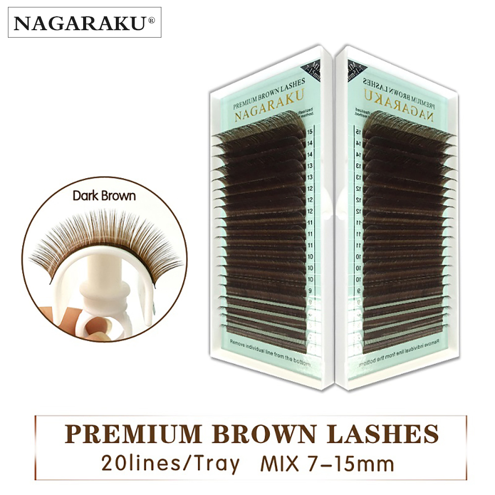 NAGARAKU mix 7 ~ 15mm, Marrón extensión de pestañas marrones. faux Mink falsas pestañas marrón claro color maquiagem cilios