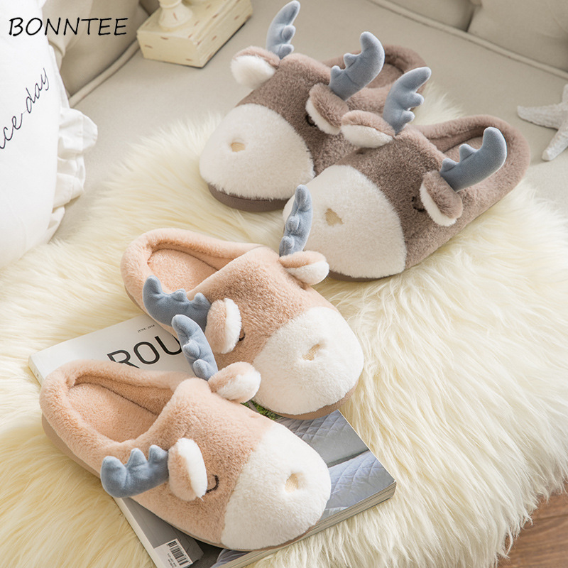 Winter Slippers Women Indoor Soft Bottom Warm Plush Floor Shoes Fashion Cute Deer Shape Slipper Womens Flat Simple ComfortableWinter Slippers Women Indoor Soft Bottom Warm Plush Floor Shoes Fashion Cute Deer Shape Slipper Womens Flat Simple Comfortable