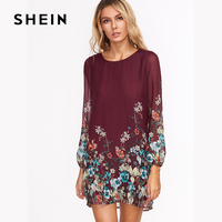 SHEIN Burgundy Florals Chiffon Dress 2017 Fashion Autumn Women S Casual Long Sleeves Dresses Flower Print
